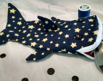Shark bag- midnight blue and gold stars