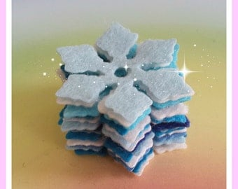 Felt Die Cut Snowflakes, Blue & White Snow Flakes, Felt Festive Shapes, Die Cut Christmas Craft Embellishments