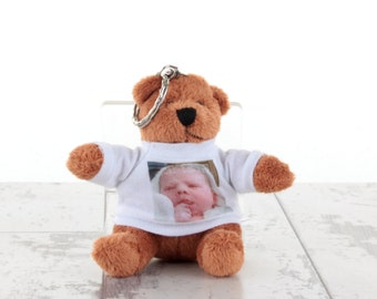 Personalised Cuddley Animal Key Fob with Printed T-Shirt