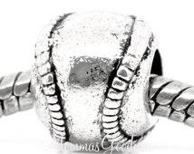 Baseball European Big Hole Bead Charm fits Pandora Bracelets MommasGoodys has Free Shipping on Orders Over 30