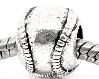Baseball European Big Hole Bead Charm fits Pandora Bracelets