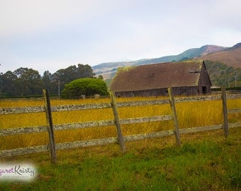 Old Barn Behind a Fence with Yellow Grass - farm country photography