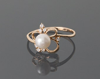Promise ring - White pearl ring - Gold pearl ring - Elegant gold ring -  Bridesmaid ring - Pearl jewelry