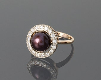 Pearl ring - Gold pearl ring - Black pearl - Black pearl ring - Red gold ring - Round ring - Bridal jewelry