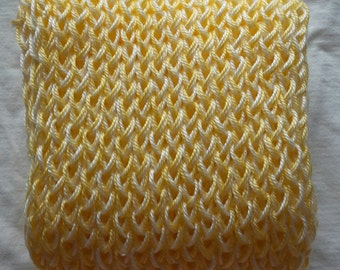 Butter & White Hand Knitted Scarf