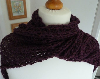 Long plum coloured hand knitted wool scarf