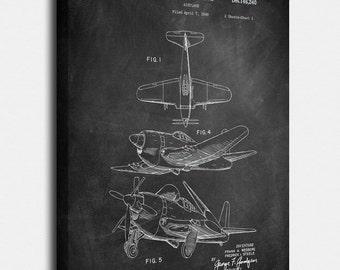 Aviation Airplane Canvas Print, Aviation Airplane Patent,  Vintage Art,  Blueprint,  Poster, PatentPrints, Wall Art, Decor [CA63C]