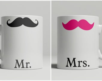 Mr and Mrs Mustache Mugs (1 Set of 2 Mugs), pink mustache, black mustache, his and hers, mr and mrs, wedding, engagement gift, double sided
