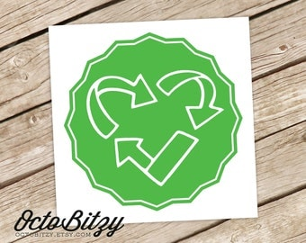 Recycle Heart, Love to Recycle Vinyl Decal Sticker