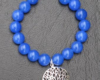 Blue jade and silver pendant bracelet