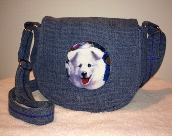 Puppy Love Messenger Bag; Shoulder or Cross Body - Recycled Denim, Upcycled Denim NOW on SALE!!