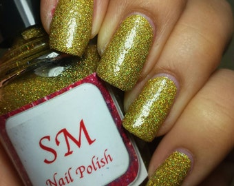 30% OFF SALE!!! 18ct. Gold/Holo/Holographic Gold glitter indie Nail Polish