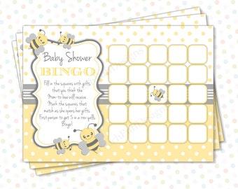 Bee Baby shower games (INSTANT DOWNLOAD) - Baby shower Bingo - Baby shower games - Baby shower bingo printable BA004