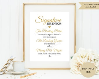 Signature drink sign (PRINTABLE FILE) - Signature cocktail sign - Wedding drink sign - Signature drink printable