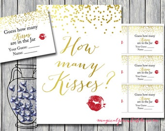 How many kisses in the jar, guess how many candy in the jar, Gold Confetti Bridal Shower Game, Bachelorette, Gold Bridal Shower BS87