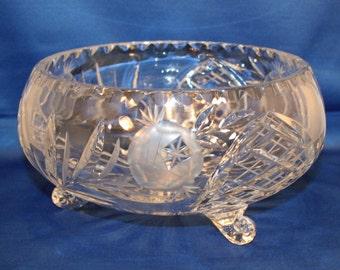 Vintage Lead Crystal Tri-Footed Hand Cut 8 inch Bowl / Candy Bowl
