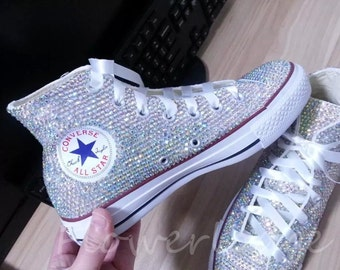 Rhinestone Converse Shoes bling converse sparkle AB crystal high top converse sneaker Bridal Flower Girl Sneaker Shoes satin lace ribbon