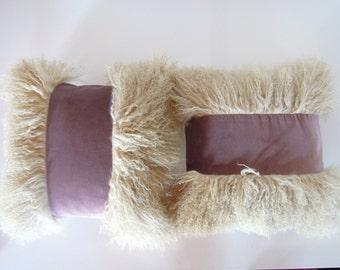 Mongolian lamb ~ cushion cover ~ pillow cover ~ Lilac ~ velvet ~ cotton ~ limited edition ~16 Inch ~ 40cm x 40cm ~ beige ~ wool ~ fur
