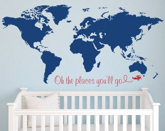 World Map Wall Decal - Nursery Wall Decal - Baby Room Decor - Nursery Wall Decals Vinyl