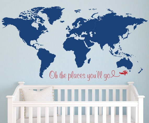 World map wall decal nursery wall decal baby room decor like this item gumiabroncs Image collections