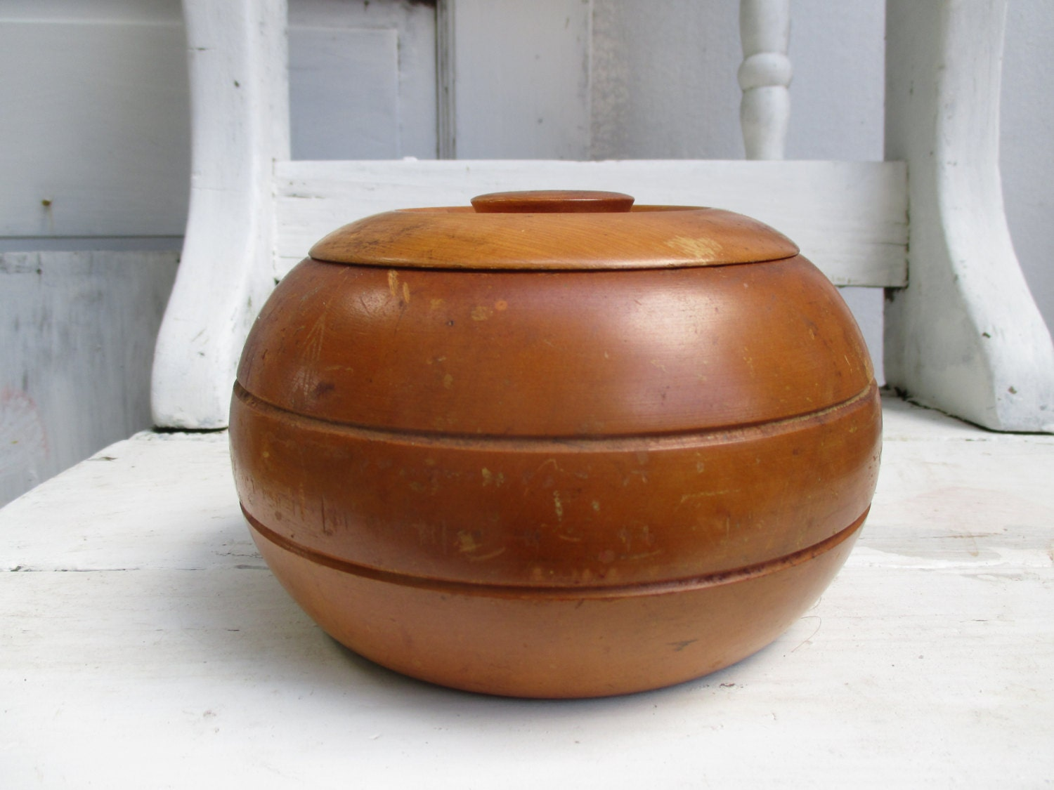 vintage wood bowl wood canister wood container round decorative kitchen canisters and jars