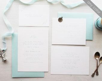 Vintage Typewriter Wedding Invitation in Blue