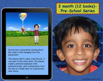 12x Personalized Children's Books with Photo- 3 month (12 titles) set of personalized kids eBooks for Pre-Schoolers with photo and name.
