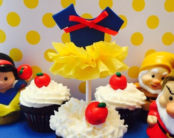 Tutu Cupcake Toppers, Snow White Inspired