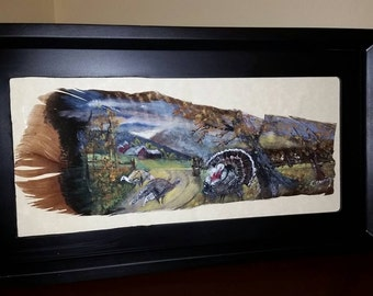 Framed Turkey Painting on a Turkey Feather