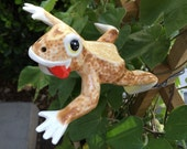 Ceramic Cream and Brown Frog decorative jumping position
