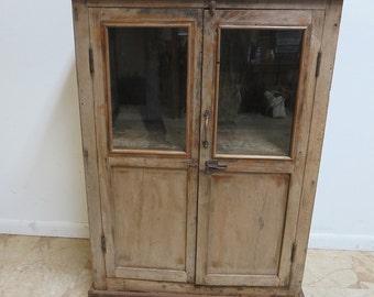 Antique Primitive architectural salvage Hutch Glass Cabinet Cupboard m Q