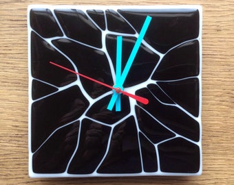 Fused Glass Shatter Art Wall Clock