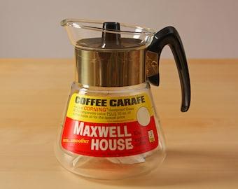 Vintage corning atomic starburst coffee pot with Maxwell house advertising
