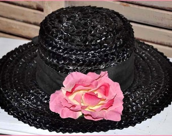 Black Straw Hat, Black Wide Brim Hat, Ladies Black Hat, Ladies Straw Hat, Black Raffia Hat, Straw Wide Brim Hat, Black Boaters Hat
