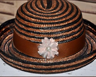 Cocoa and Black Hat, Black And Brown Straw Hat, Straw Bowler Hat, Brown Bowler Hat, Brown Straw Hat, Brown Hats, Vintage Bowler Hat