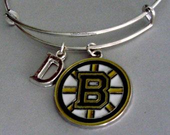 NHL BRUIN CHARM Bangle - Hockey  Charm W/ Initial Bangle -  Bruins Charm Bracelet - Gift For Her Nhl Bangle - Usa  SP1