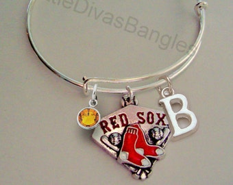 MLB Boston Red CHARM Bangle W/ Birthstone/ Initial  Baseball Charm Bangle / Bracelet - Red Sox Bracelet - Gift For Her - Sports -   SP1