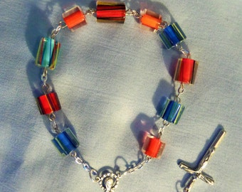 Colorful Cane Beads Single Decade Rosary