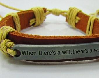 Men's Leather & Cord Bracelet