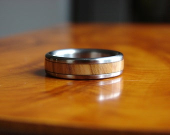 Olive wood, exotic hardwood, titanium rings, Jerusalem, wedding rings, wood inlay, titanium and wood rings, wood from Jerusalem