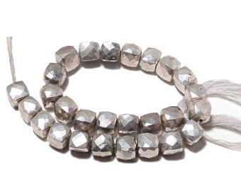 Pyrite Box Bead, Coated Pyrite, Faceted Beads, Silver Pyrite, Natural Pyrite, 7.5mm Beads, 4 Inch Half Strand, SKU-M109