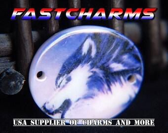 WOLF HOWLING Shell Connector, wolf jewelry, 5/20 pcs,fastcharms, jewelry findings, wolf connector, shell jewelry, beachwear (YB54A/CB121)