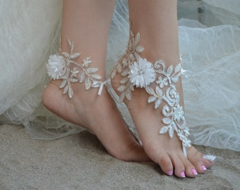 Ivory Gold Lace Barefoot Ivory Lace Anklet Flower lace barefoot lace barefoot sandals france lace barefoot Beach wedding barefoot sandals