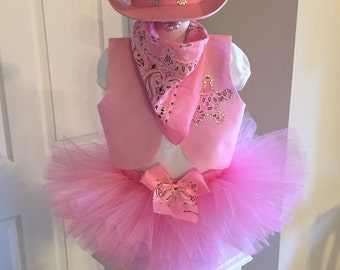 Pretty In Pink COWGIRL WESTERN WEAR TuTu Custom Costume Outfit Set Girls 4pc. New NwT 12mo 18mo 24mo 2t 3t 4t 5 6 7 8 Pageant Boutique