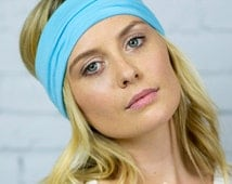 Turquoise stretch workout headband, yoga hair accessory, women's bohemian hair accessories, tame flyaway headband, yoga head wrap