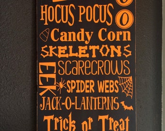 Handpainted Halloween Typography Subway Art Sign