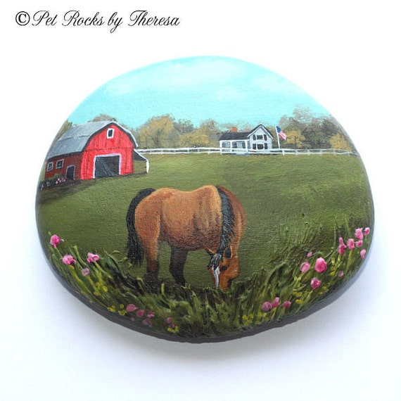 Hand Painted Rock Quarter Horse Red Barn    Farm Painting   Country Painting   Unique One of a Kind Direct from Artist   Beach Stone