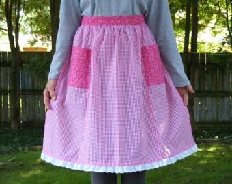 Vintage Design  Pink Gingham Half Apron