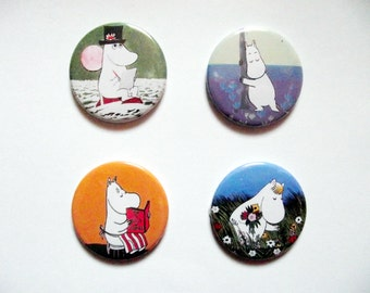 Moomin Family Badges/Fridge Magnets - Moomintroll,Snorkmaiden,Moominmama,Moominpapa