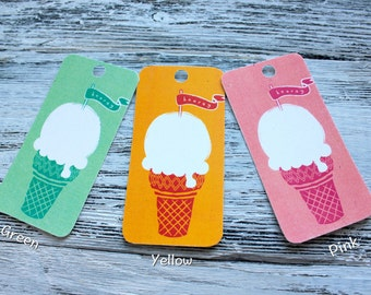 """10 gift tags """"Hooray!"""" Flags With Ice-Cream, Three Colors For Choice"""
